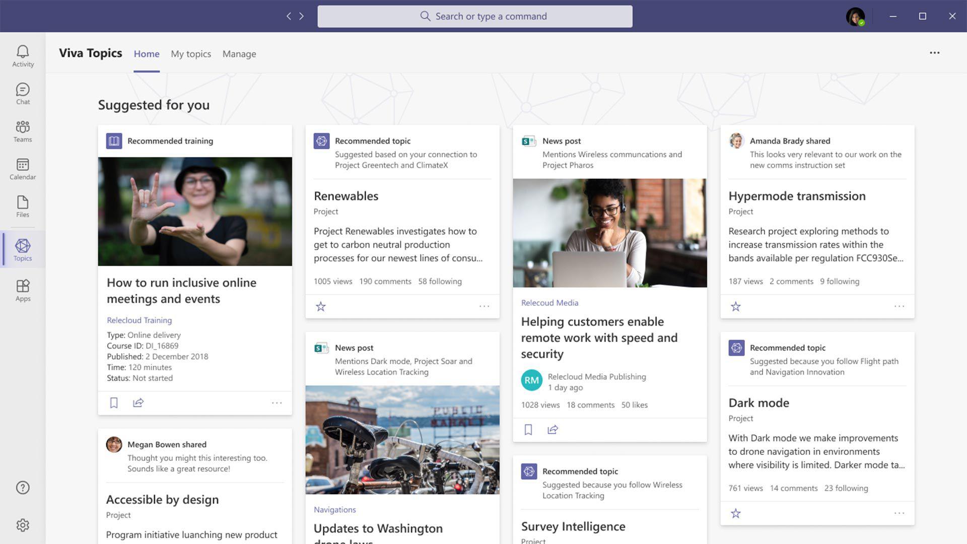 Viva, plataforma de Microsoft para home office