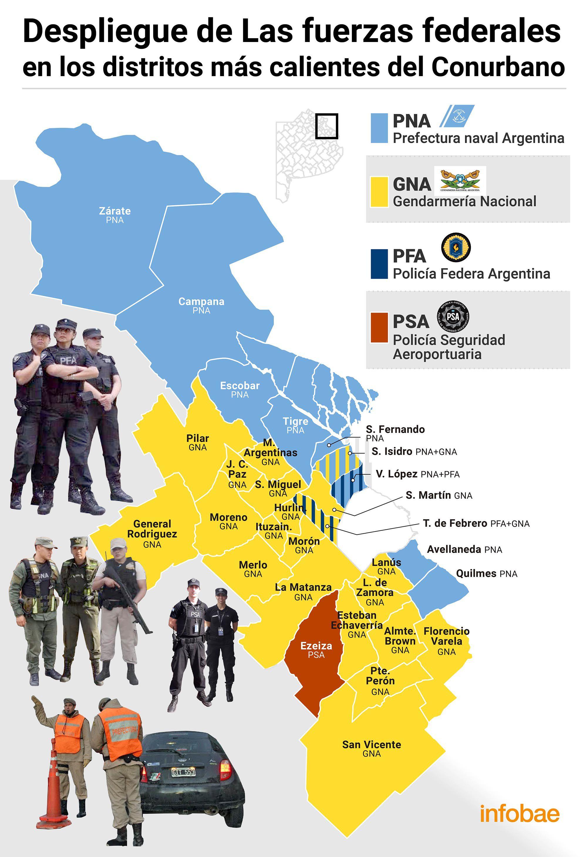 Mapa despliegue fuerzas de seguridad