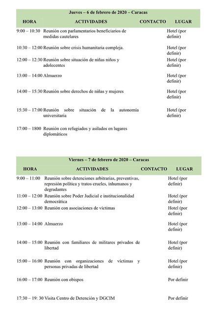 La agenda de la delegación de la CIDH en Venezuela