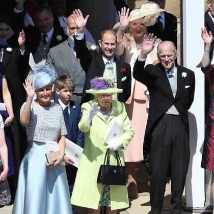 La reina Isabel II y su esposo Felipe, retirado de la vida pública desde 2017, en la boda de Meghan Markle y el príncipe Harry en mayo de 2018