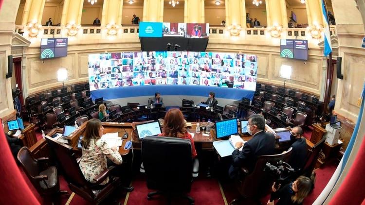 La pantalla en la que aparecieron todos los senadores que siguen la sesión desde sus despachos o sus casas