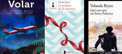 Volar tomada de editorial Fondo de Cultura económica (México), La poética de la infancia tomada de editorial Luna Libros y Qué raro que me llamen Federico tomado de editorial Alfaguara