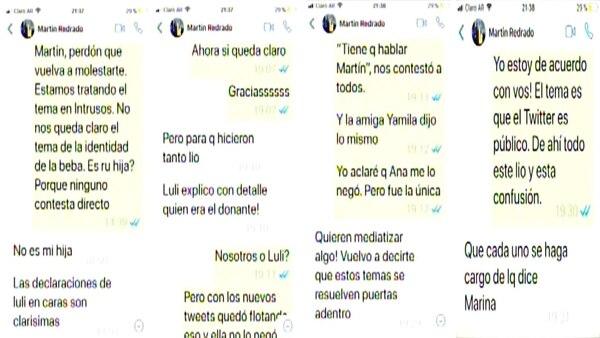 El chat entre Marina Calabró y Martín Redrado