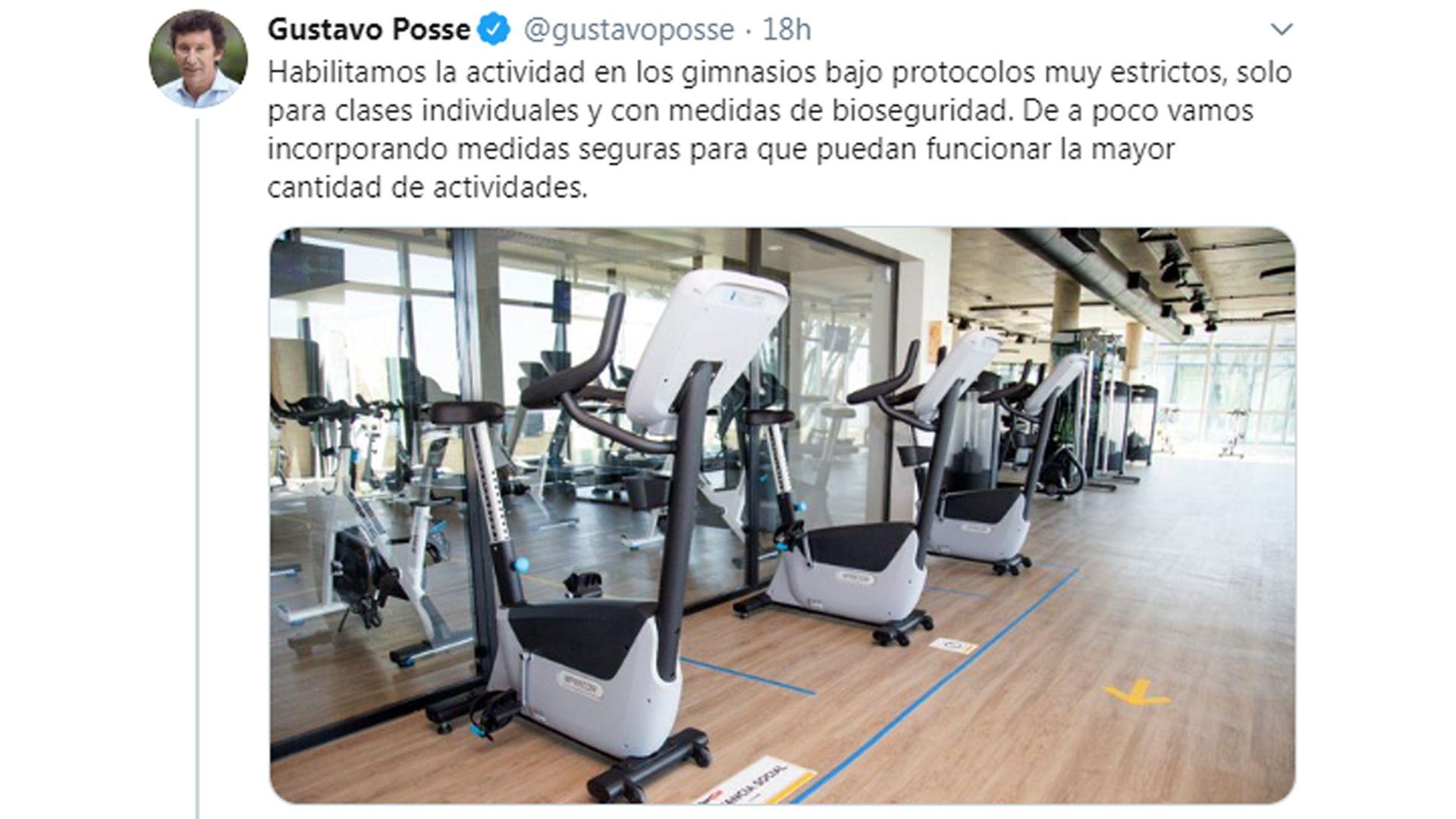 tuit de Gustavo Posse sobre gimnasios