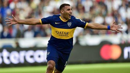 """""""Wanchope"""" Ábila marcó el gol de Boca a los 11 minutos del primer tiempo (AFP)"""