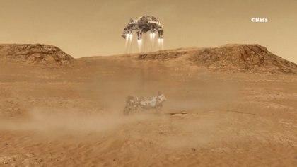 Los retrocohetes se encienden para depositar al rover en la superficie
