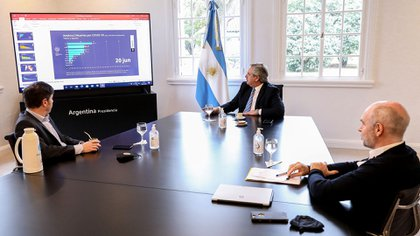 Axel Kicillof, Alberto Fernández y Horacio Rodríguez Larreta