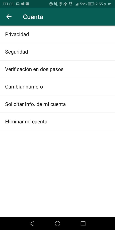 Para cambiar tu número debes ingresar al menú de la app, después, ajustes y cuenta, donde verás Cambiar número (Captura de pantalla)
