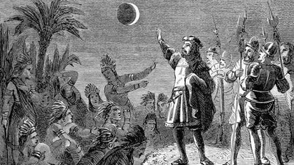 Pintura que representa a Cristobal Colón en Jamaica en el momento del eclipse lunar
