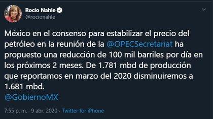 El gobierno mexicano propone reducir su producción solo de 100 mil barriles diarios (Captura de pantalla: Twitter/rocionahle)