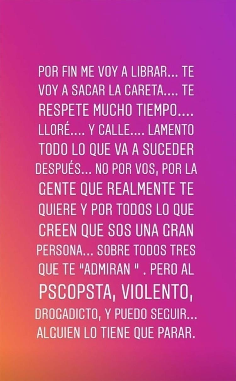 El posteo de Sabrina Rojas en Instagram, que -dice- ella no escribió