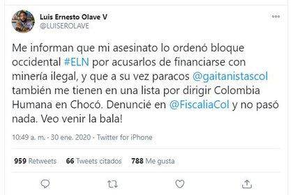 Luis Ernesto Olave, líder de Colombia Humana en Chocó denuncia amenazas de muerte en su contra.