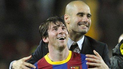 Lionel Messi y Pep Guardiola fueron los pilares del mejor Barcelona de todos los tiempos (AFP)