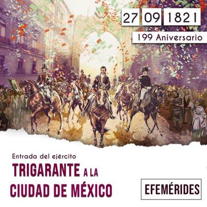 Este domingo se celebra el 199 aniversario de la entrada del Ejército Trigarante a la Ciudad de México (Foto: Facebook Beatriz Gutiérrez Müller)