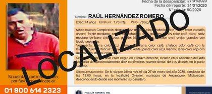 Raúl Hernández Romero fue localizado sin vida el 1 de febrero (Foto: Fiscalía General de Michoacán)