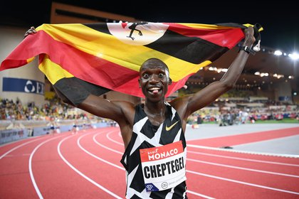 La celebración del ugandés (REUTERS/Matthias Hangst)