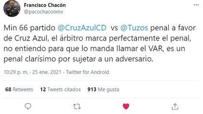 Francisco Chacón apuntó que a Cruz Azul no le debieron de anular el penal contra Pachuca (Foto: Twitter/ @pacochaconmx)