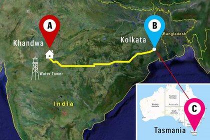 El recorrido que había hecho el tren de Saroo a través de Google Earth