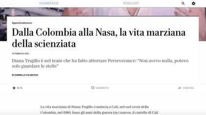 """El diario italiano La Repubblica publicó un artículo sobre la científica de la NASA, Diana Trujillo, que resaltaba que provenía de """"la Colombia de narcos"""". Foto: Captura"""