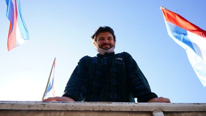 Juan Grabois, en una protesta callejera
