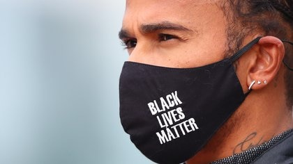 Formula One F1 - Eifel Grand Prix - Nurburgring, Nurburg, Germany - October 11, 2020 Mercedes' Lewis Hamilton wears a Black Lives Matter face mask before the race Pool via REUTERS/Bryn Lennon