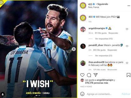 Di María respondió un posteo que hablaba sobre la posible contratación de Messi