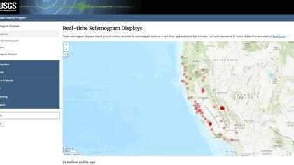 El mapa de sismógrafos del Servicio Geológico de Estados Unidos, que se actualiza en tiempo real