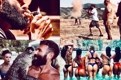 Dan Bilzerian y un compilado de algunas de las fotos que publica en su cuenta de Instagram y suelen generar polémica (Foto: Instagram @danbilzerian)