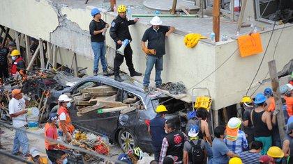 Socorrististas y voluntarios trabajan en las tareas de rescate en el Colegio Enrique Rebsamen. EFE/STR