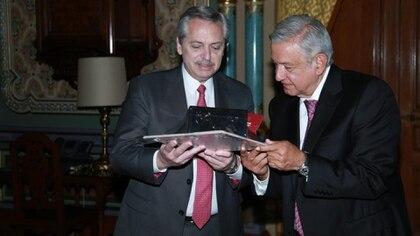 Alberto Fernández y López Obrador en la visita del presidente argentino a México