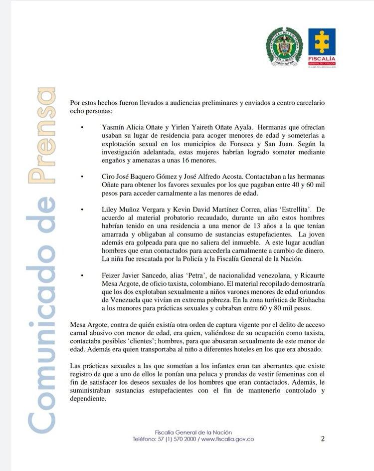La Fiscalía colombiana dio detalles del operativo