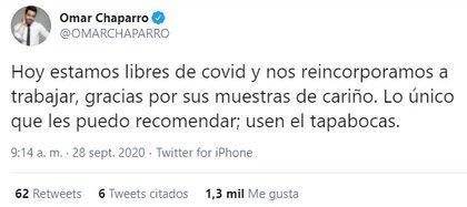 El mensaje de Omar Chaparro para anunciar que está libre de COVID-19 (Captura de Pantalla: Twitter @omarchaparro)