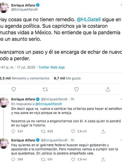 Así mostró su molestia de Enrique Alfaro porque Jalisco está en rojo en el semáforo epidemiológico. (Foto: Captura de pantalla)