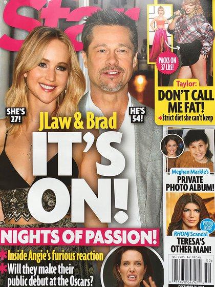La portada de Star confirmando el supuesto romance entre Brad Pitt y Jennifer Lawrence