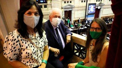 La ministra Elizabeth Gomez Alcorta; la secretaria de Legal y Tecnica, Vilma Ibarra y el ministro de Salud, Gines Gonzalez García en el recinto