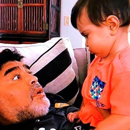 Diego Maradona y Diego Matías, hijo de Junior
