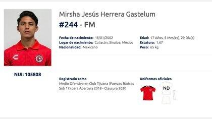 La ficha oficial del menor de los Herrera Gastélum (Foto: Ascenso MX)