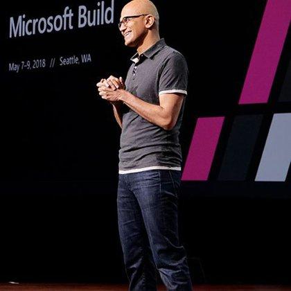 Satya Nadella, CEO de Microsoft, durante la apertura del evento Microsoft Build