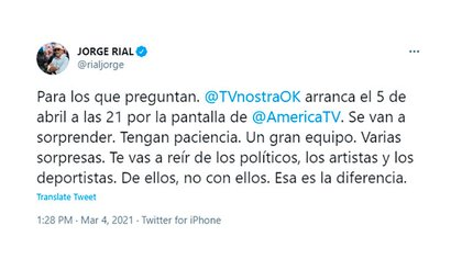 El anuncio del periodista en su cuenta de Twitter