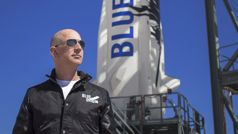 Fotografía cedida del fundador de Blue Origin, Jeff Bezos, en Texas, EE.UU.. EFE/EPA/BLUE ORIGIN/Archivo