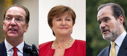 El presidente del Banco Interamericano de Desarrollo (BID), Mauricio Claver-Carone; la directora gerente del Fondo Monetario Internacional (FMI), Kristalina Georgieva, y el jefe del Banco Mundial (BM), David Malpass (EFE/ARCHIVO)