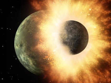 There is a theory that remains of Theia, the object that collided with our planet 4.5 billion years ago and gave rise to the Moon, remain in layers of rock deep in the Earth's mantle. RESEARCH AND TECHNOLOGY POLICY NASA / JPL-CALTECH