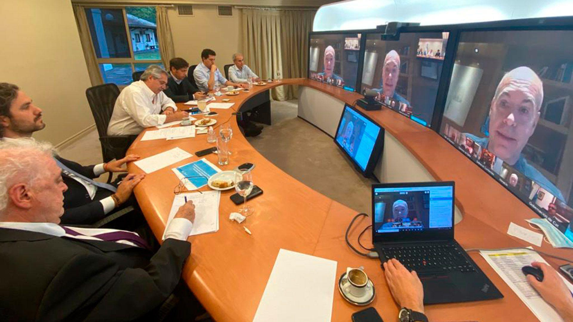 Alberto Fernández en la anterior teleconferencia con gobernadores (Presidencia de la Nación)