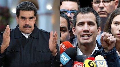 El presidente y líder chavista Nicolás Maduro, y su adversario el presidente interino designado por la Asamblea Nacional, Juan Guaidó (Reuters)