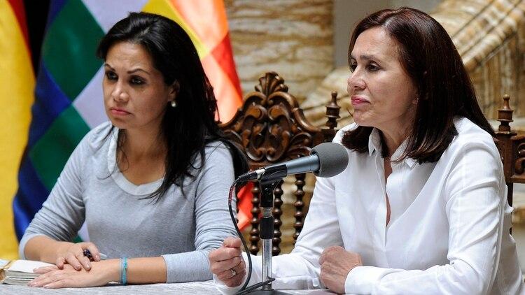 La canciller del gobierno interino de Bolivia, Karen Longaric, durante una conferencia de prensa (Photo by JORGE BERNAL / AFP)