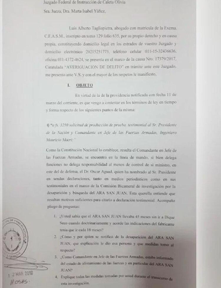 El documento que la Justicia le envió a Mauricio Macri
