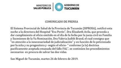 El comunicado del Sistema Provincial de Salud de Tucumán
