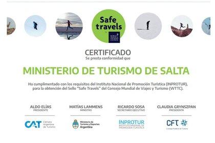 """Salta recibió el sello """"Safe Travels"""", que certifica a determinados destinos como lugares de viaje seguro en medio de la propagación de la pandemia de COVID-19."""