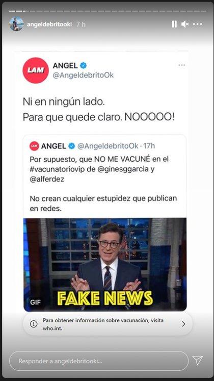 Ángel De Brito desmintió haber sido vacunado (Foto: Instagram)