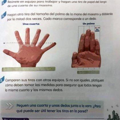 La mano con seis dedos que aparece en los libros de texto de segundo año de primaria.